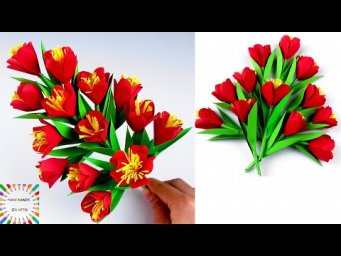 Easy and Beautiful Paper Flower - DIY Paper stick Flowers -   Handmade Craft