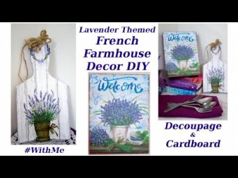 2 French Farmhouse Decor Using Cardboard & Decoupage Trash to Treasure DIY #WithMe