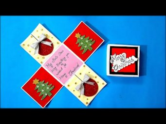 DIY Christmas Greeting Card | How to make Christmas Card | Simple Explosion box for Christmas