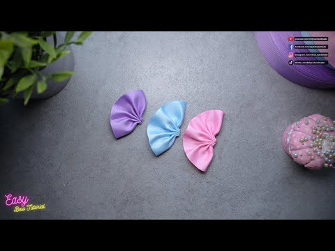 [ASMR] Ribbon Bows step by step - three colour hair clip #ElysiaHandmade