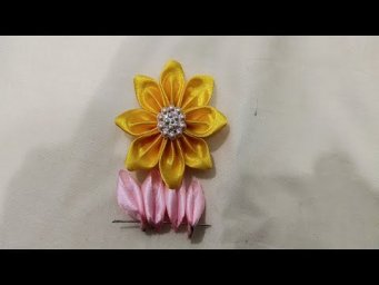 Hand Embroidery:Ribbon Work,Make Flower With Ribbon Stitch,Sewing Hack Design