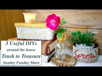 3 Trash to Treasure Useful DIY Projects for Farmhouse Home Recycled Plastic & Perfume bottle #WithMe