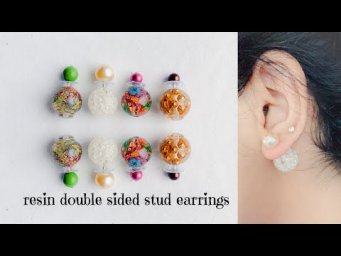 How to make double sided stud earrings/making beautiful double sided studs using uv resin/handmade