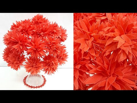 DIY-flowers Bouquet/Guldasta made with shopping carry Bag & Plastic bottle|DIY-room decoration idea