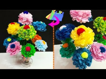 DIY Plastic Shopping Bag Flower Bouquet/Guldasta Made with  Plastic bottle|DIY-room decoration idea