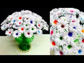 DIY-Paper flowers Bouquet/Guldasta made with Empty Plastic bottles|DIY room decor idea