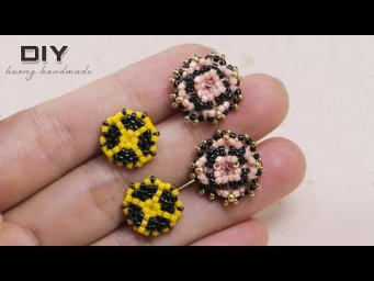 Beaded stud earrings diy. 2 patterns in 1 tutorial