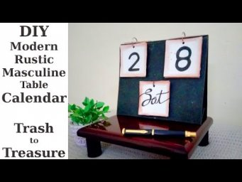 DIY Table Calendar Rustic Modern Masculine Vintage Farmhouse Style Trash to Treasure
