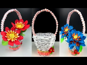 How To Make A Paper flower Basket With paper - DIY Easy Paper Craft - Handmade Craft