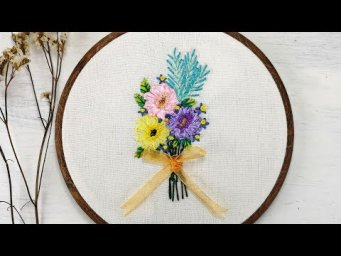 Hand Embroidery - Ribbon Lazy Daisy Stitch for Beginners [Free Pattern]
