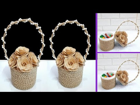 Economical Basket made with waste recycled materials |Best out of waste low budget jute rope basket
