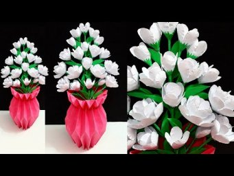 How to make Paper Flower Bouquet with Flower vase  |DIY-Room Decoration Idea