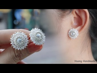 How to make earrings. Beaded stud earrings. Jewelry making