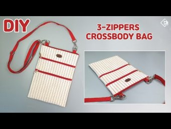 DIY CROSSBODY BAG WITH 3-ZIPPER POCKETS/ make a bag/ sewing tutorial [Tendersmile Handmade]