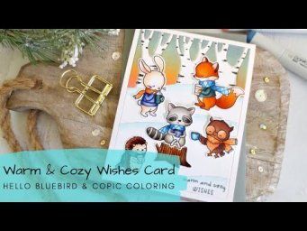 Warm & Cozy Wishes Card | Copic Coloring + Distress Oxide Background | Hello Bluebird
