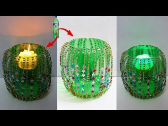 Showpiece/Tealight holder made from waste Plastic Bottle| Christmas/home decoration ideas