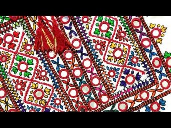 Easy mirror hand embroidery tutorials for beginers, mirror work dress design2021