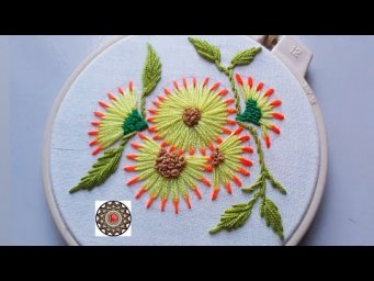 Hand embroidery by keya 2020 / Beautiful chain stitch variation flower for dupatta decoration.
