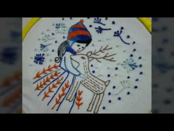 Hand Embroider for beginners | 5 basic Stitches | deer, girl embroidery | Simple hand embroidery