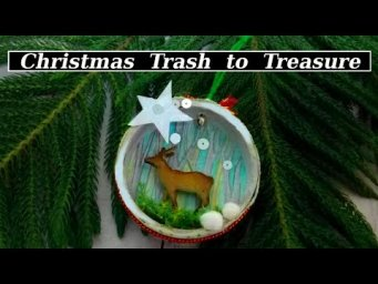 DIY Vintage Christmas Ornament from Trash to Treasure Winter Woodland Decor DIY