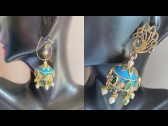 How To Make Paper Earrings/Party wear jhumka making at home/beautiful Quilling jhumka earrings