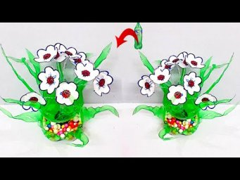 DIY-Showpiece/flower Bouquet made from plastic bottle |Best out of waste room decoration idea