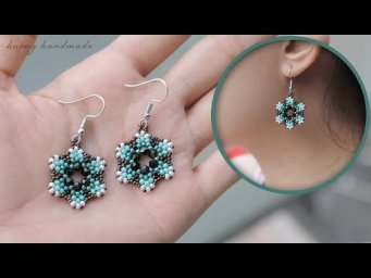 Beaded earrings. Seed beads and bicones flower earrings