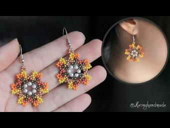 How to make seed beads earrings. Flower beaded earrings