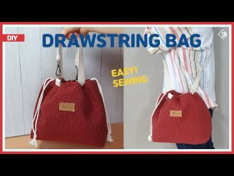 DIY DRAWSTRING BAG TUTORIAL/ TOTE BAG & CROSSBODY BAG/ 스트링 에코백/ 토트백 & 크로스백/ EASY SEWING[Tendersmile]