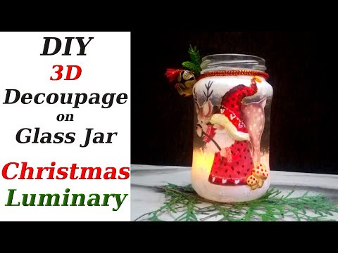 3D Decoupage Tutorial | Christmas Crafts from Recycled Materials | Mason Jar Crafts