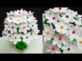 DIY- shopping carry bag flower Bouquet made with Plastic Bottle |Best out of waste room decor idea