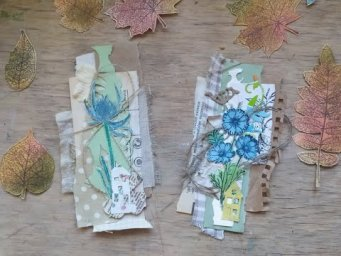 How to make blue collage clusters with botanical ephemera / eco junk journal fussy-cut tutorial