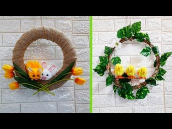 Best out of waste 2 beautiful Easter Wreath making idea at home |DIY Low budget Easter décor idea