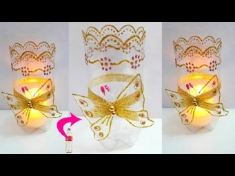 DIY: Showpiece/Tealight holder made with plastic bottles|Best out  Of Waste room decoration idea