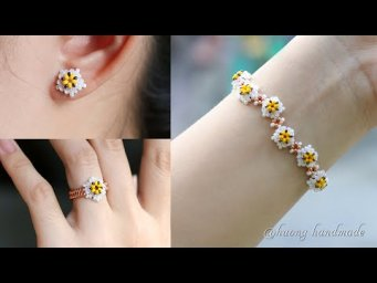 Daisy flower jewelry set. Bracelet, earring & ring. How to make beaded jewelry
