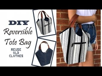 DIY BAG/TOTE BAG WITH ZIPPER/CARRY-SHOULDER BAG FROM OLD CLOTHES/BOLSA DIY/RECYCLING