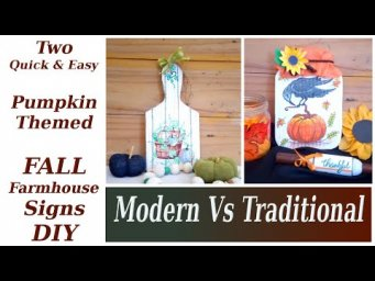 2 Pumpkin Themed Fall Farmhouse Decor Modern Vs Traditional MomDas Life Handmade