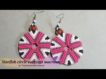 How to make earrings DIY: Starfish circle earrings macrame by Thaohandmadechannel