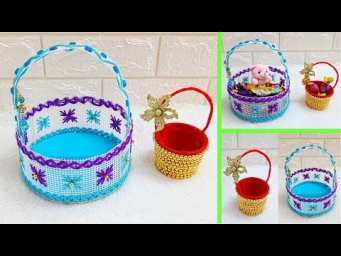 2 Basket made with plastic canvas & recycled materials| DIY mother's day Gift idea-Best out of w