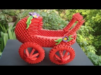 How To Make 3D Origami Baby Carriage ( Can Move )| DIY Paper Baby Carriage Home Decor
