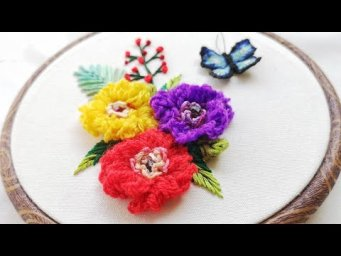 Hand Embroidery Ideas : 3D Fluffy Peony Flowers