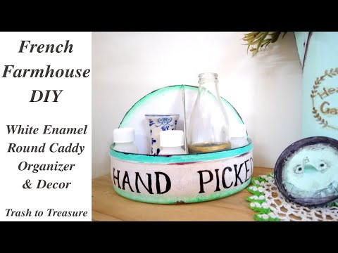 DIY French Farmhouse Enamel Round Storage Caddy Trash to Treasure Chic for Cheap #WithMe