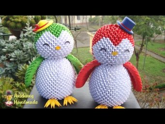 3D Origami Penguin Tutorial | DIY homemade paper penguin home decoration