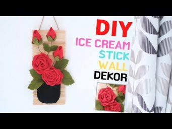 DIY WALL DECOR WITH  FLANNEL AND ICE CREAM STICK | HOW TO MAKE FELT ROSES FLOWER | Elysia Handmade
