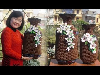 3D Origami Giant Vase , Vase 14 Tutorial | DIY Paper Flower Vase Home Decoration