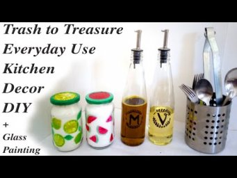 Glass Bottle Painting Art & Trash to Treasure Kitchen Decor DIY