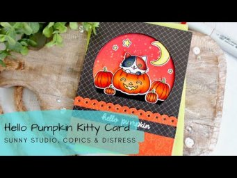 Hello Pumpkin Kitty Card | Copic Coloring | Sunny Studio Stamps