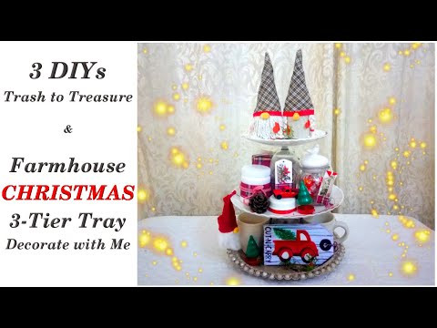 Easy Trash to Treasure DIYs & Farmhouse Christmas Three Tiered Tray Decorate with Me