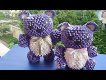 3D Origami Teddy Bear V4 Tutorial | DIY Paper Bear Home Decoration