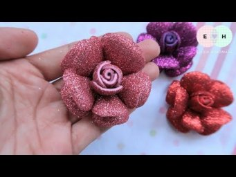 Amazing Glitter Foamiran Flower - Hand Embroidery Works - DIY by Elysia Handmade